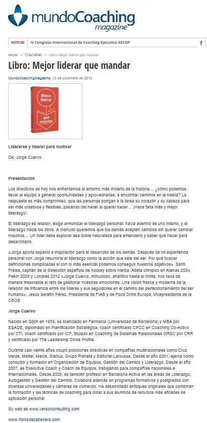 Mundo Coaching Magazine 12-12-12